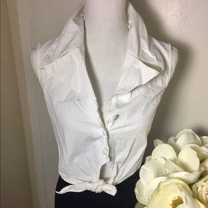 Express Sleeveless Button Shirt